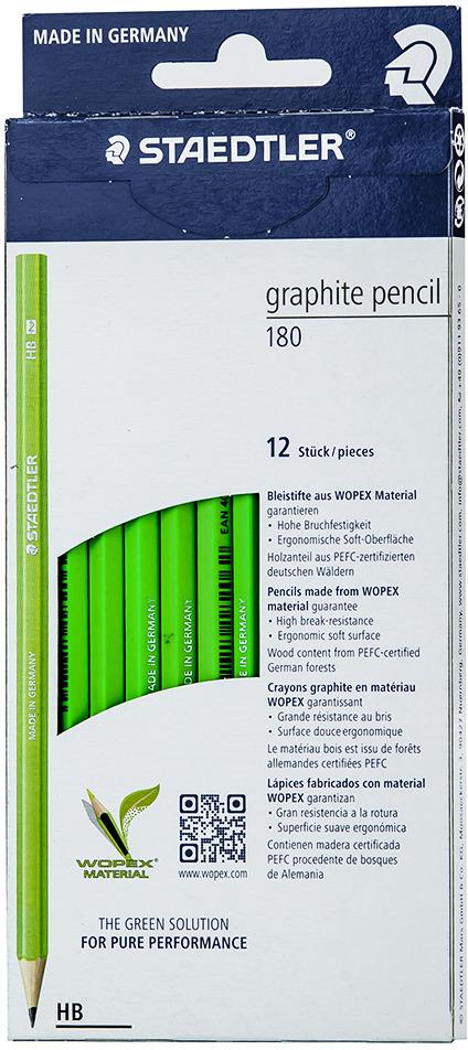 Набор чернографитовых карандашей Staedtler Wopex HB, цвет корпуса: зеленый, 12 шт -  Карандаши