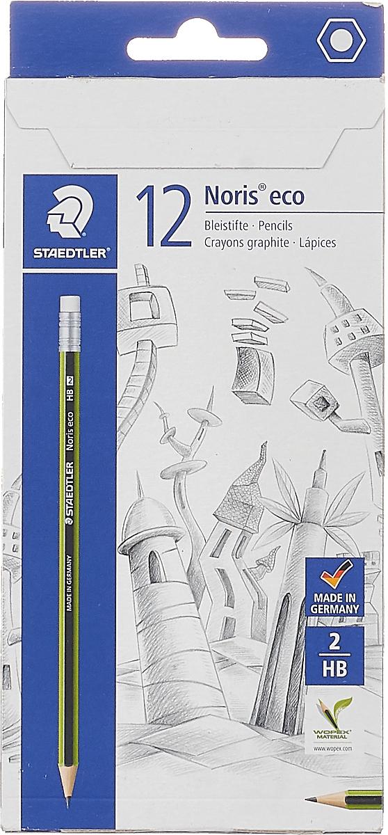 Набор чернографитовых карандашей Staedtler Noris Eco HB, с ластиком, 12 шт -  Карандаши