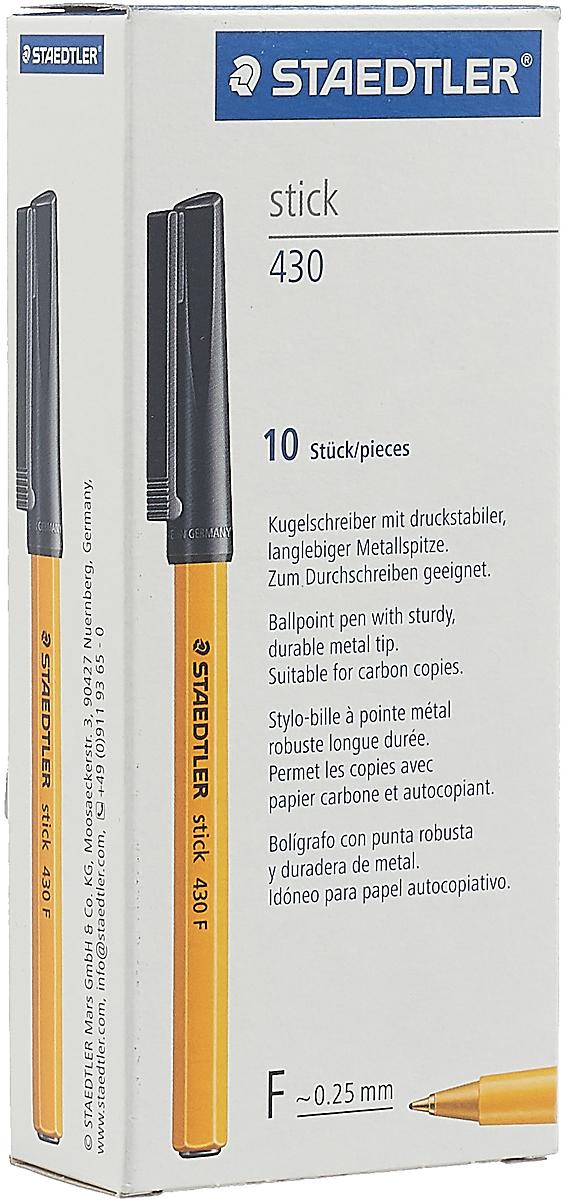Набор шариковых ручек Staedtler Stick 430 F, цвет чернил: черный, 10 шт -  Ручки