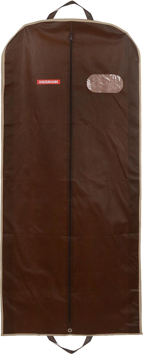 """Фото Чехол для одежды """"Hausmann"""", подвесной, с прозрачной вставкой, цвет: коричневый, 60 х 100 х 10 см. Купить  в РФ"""