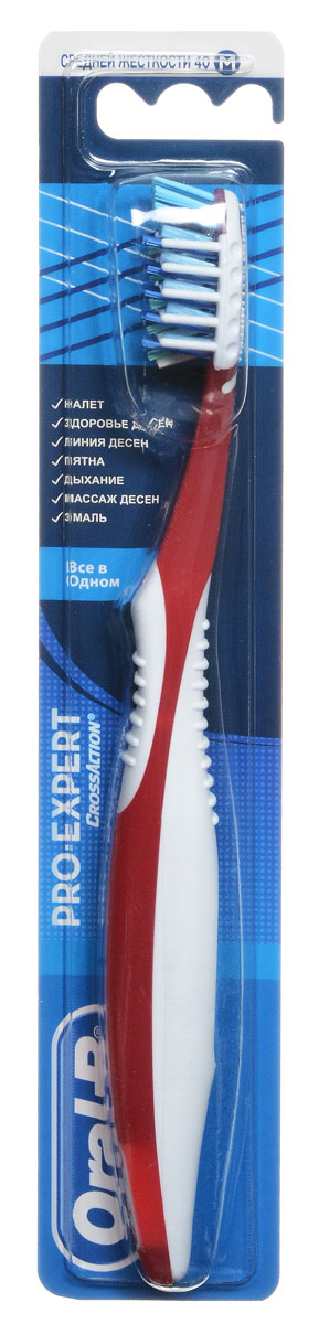 """Фото Oral-B Зубная щетка """"Pro-Expert. Все в одном"""", средняя жесткость, цвет: красный. Купить  в РФ"""