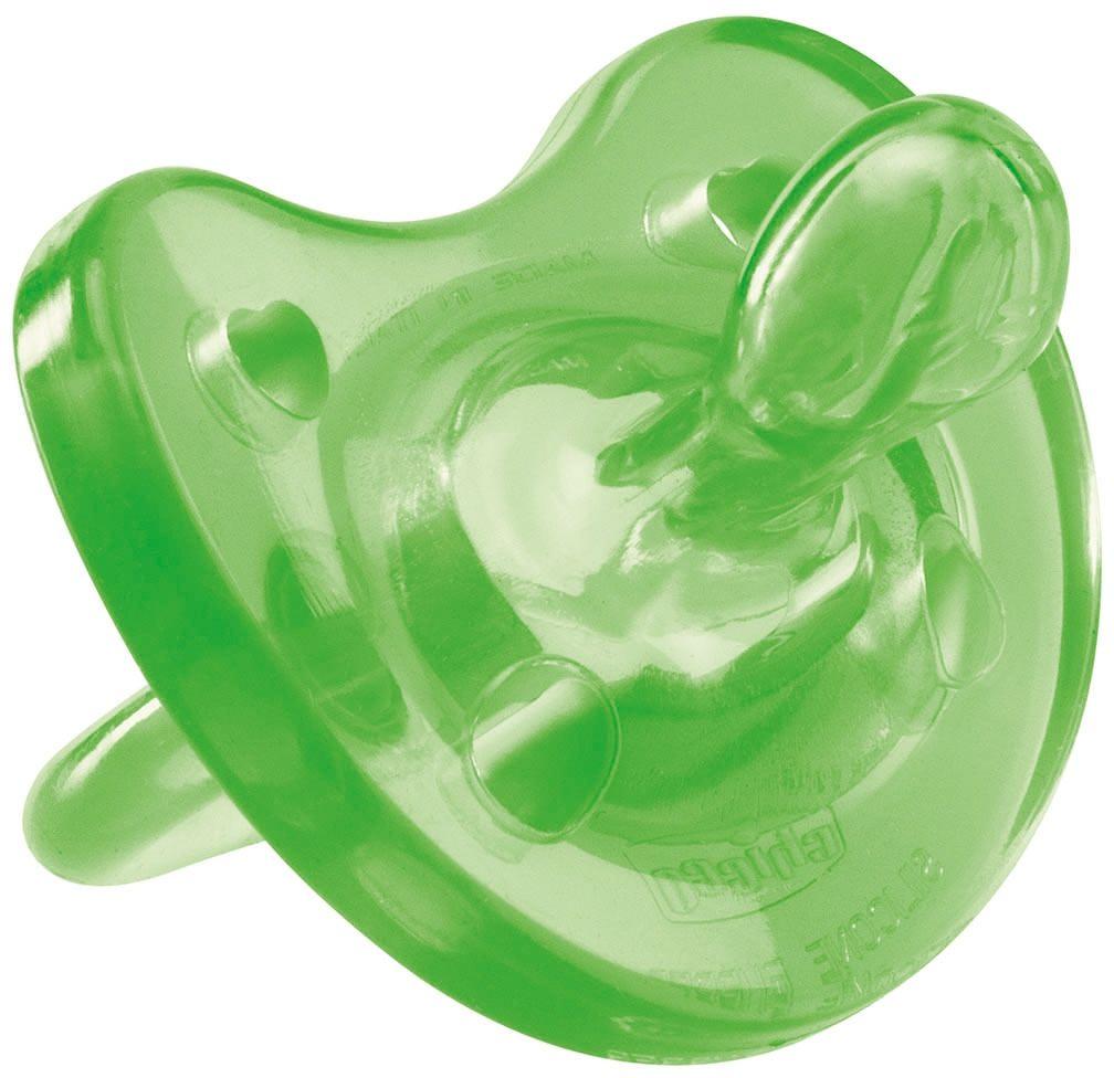 Фото Chicco Пустышка Physio Soft силиконовая от 6 до 12 месяцев цвет зеленый. Купить  в РФ