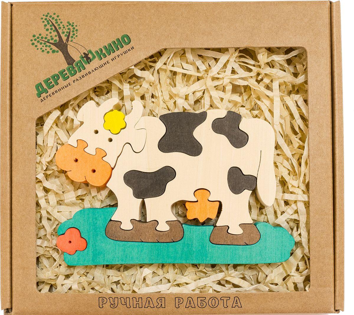 Фото Деревяшкино Пазл для малышей Коровка с ромашкой. Купить  в РФ