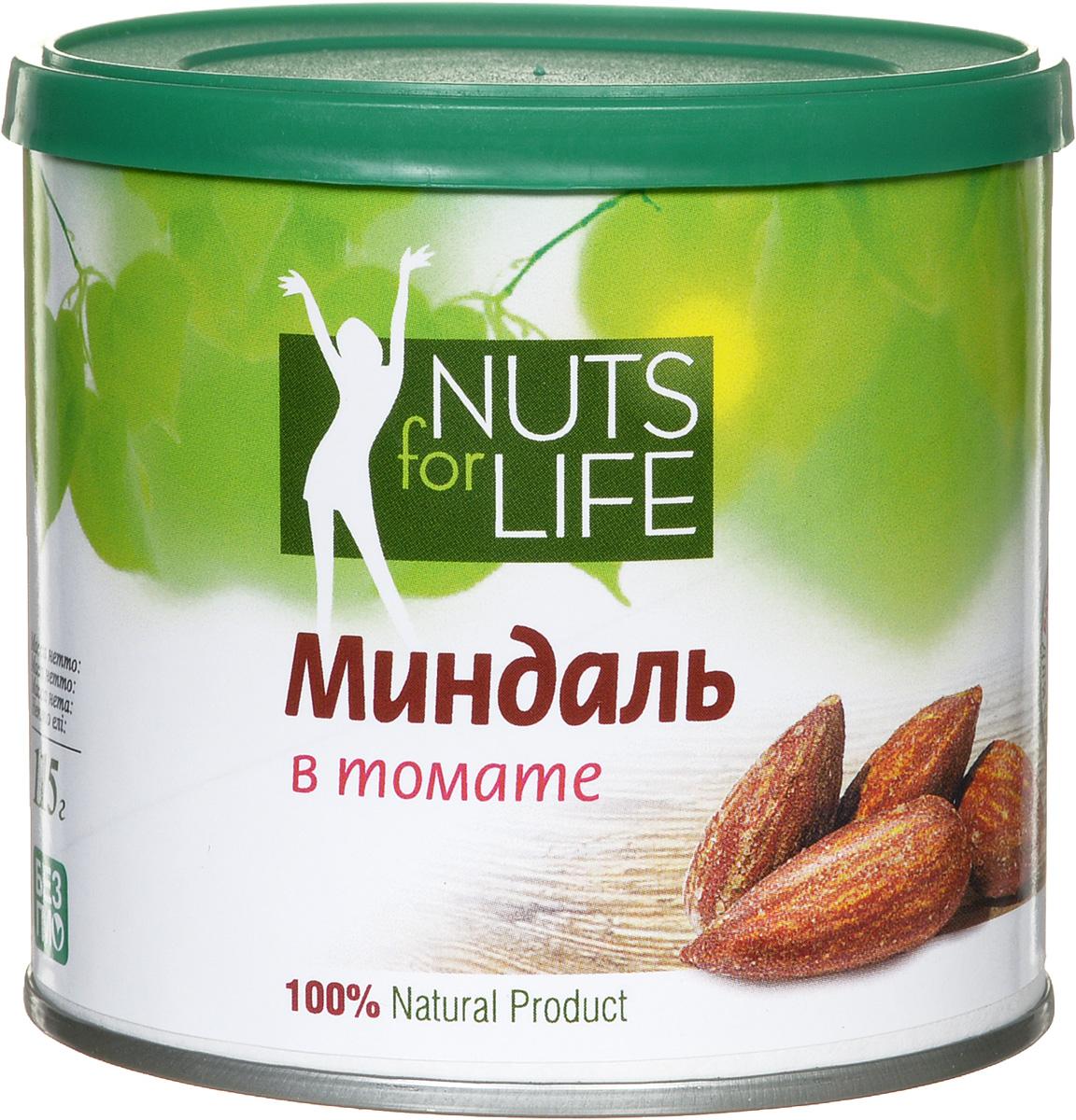 Фото Nuts for Life Миндаль обжаренный соленый в томате, 115 г. Купить  в РФ