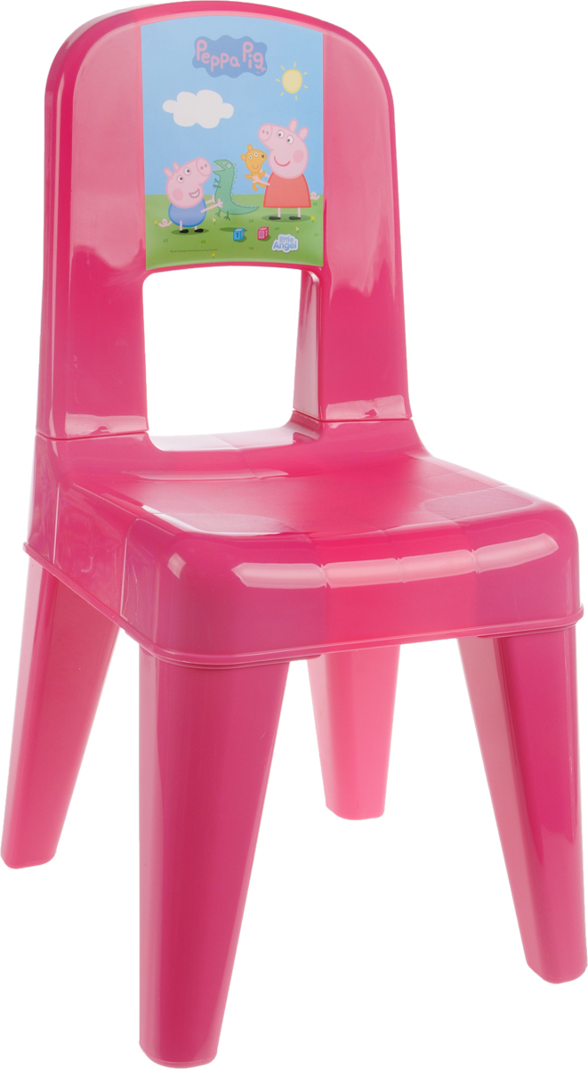 Табурет детский Little Angel  Свинка Пеппа. Я расту , со спинкой, цвет: розовый, голубой, зеленый, 35 х 30 х 58,2 см -  Детская комната