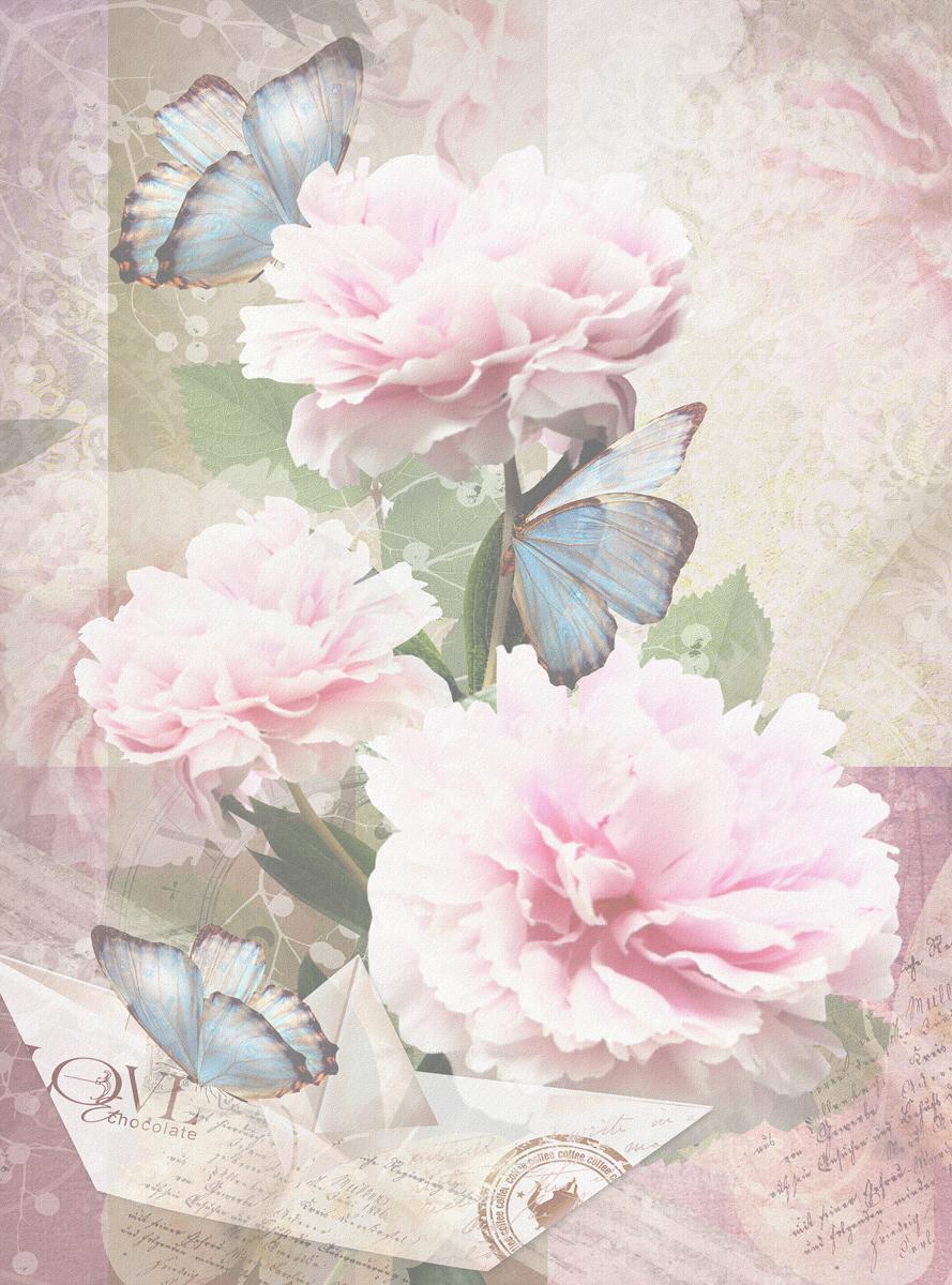 Открытка с пионами и бабочками