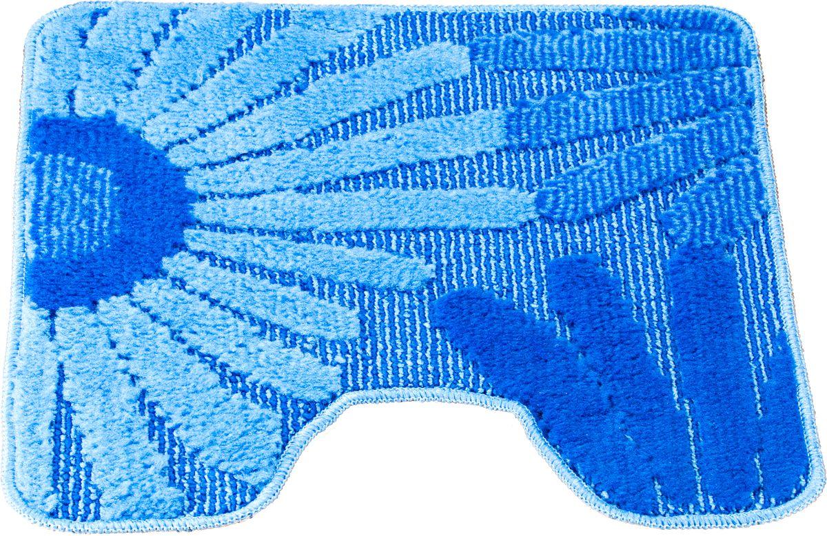 """Фото Коврик для туалета Swensa """"Fiori"""", цвет: синий, голубой, 50 х 50 см. Купить  в РФ"""