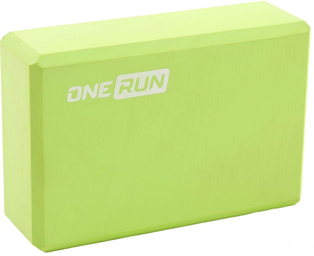"""Фото Блок для йоги """"OneRun"""", цвет: зеленый, 22 х 15 х 7,5 см. Купить  в РФ"""