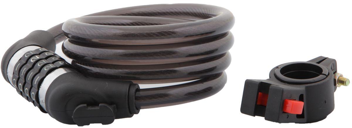 """Фото Замок велосипедный """"STG"""", трос спиральный, кодовый, цвет: черный, 12 мм х 120 см. Купить  в РФ"""