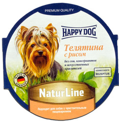"Консервы Happy Dog ""Natur Line"" для собак, паштет с телятиной и рисом, 85 г"
