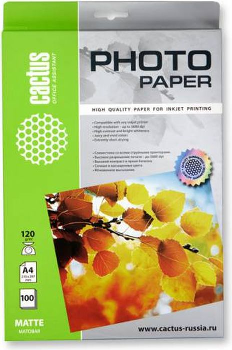 Фото Cactus CS-MA4120100 A4/120г/м2 матовая фотобумага для струйной печати (100 листов). Купить  в РФ