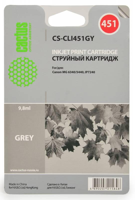 Фото Cactus CS-CLI451GY, Grey струйный картридж для Canon MG 6340/5440 IP7240. Купить  в РФ