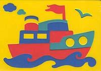 Пароходик. Мягкая мозаика игрушки для ванны флексика мозаика набор для ванны мир транспорта