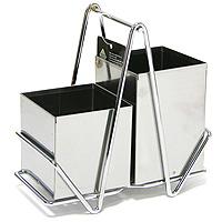 Подставка для кухонных приборов Sirius0511114Очень удобная, не занимающая много места,подставка для кухонных приборов, выполненная из нержавеющей стали, пригодится на любой кухне. Два съемных контейнераразной высоты (для длинных и менее длинных приборов) имеют на дне специальные отверстия для стока воды после мытья. Изделие соответствует современным тенденциям в моде на кухонные аксессуары и отличается практичностью и оригинальным дизайном. Характеристики:Артикул:0511114. Производитель: Великобритания. Материал:нержавеющая сталь. Размер подставки:18 см х 9 см х 18 см.