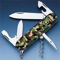 Victorinox Spartan 1.3603.94 складной м/ф нож, Camouflage1.3603.94Офицерский нож Spartan - это многофункциональныйинструмент с набором из 9 функций:большое лезвие;малое лезвие;штопор;консервный нож;малая отвертка (также для винта с крестообразным шлицем); отвертка;открывалка для бутылок;инструмент для снятия изоляции;кольцо для ключей. Характеристики:Длина: 9 см. Цвет: хаки. Артикул: 1.3603.64. Производитель: Швейцария. Victorinox - известный производитель ножей в Европе. Швейцарские ножи Victorinox - это настоящее произведение искусства. Изделия Victorinox успешно проверены в экспедициях по арктическим льдам Северного полюса, на самой высокой точке земного шара, Горе Эверест, в тропических лесах Амазонки. В самых экстремальных ситуациях продукция Victorinox зарекомендовала себя как надежный помощник и спаситель.