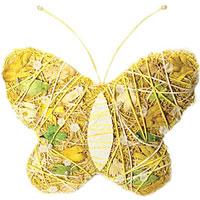 """Пасхальное украшение выполнено в виде декоративной композиции - бабочки. Бабочка выполнена из стружек, бумажных нитей и украшена бусинами. Декоративное украшение """"Бабочка"""" отлично дополнит интерьер вашей комнаты и будет хорошим подарком на пасху.    Характеристики: Материал: стружка, бумага. Высота бабочки: 21 см. Производитель: Китай. Артикул: 16233."""