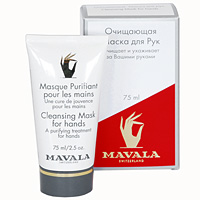Маска очищающая Mavala для рук, с перчатками, 75 мл07-147Маска оказывает моментальный эффект лечебного, отбеливающего и омолаживающего действия на сухуюи поврежденную кожу рук. В состав входит аллантоин, хорошо известный своими целебными свойствами, растительные экстракты мальвы, огурца и мелисы, которые удаляют из кожи загрязнения, освежают и подтягивают ее, а также экстракт алое вера, который успокаивает и смягчает кожу. Способствует быстрому обновлению клеток. Применяйте маску раз в неделю с легким массажем рук. Оставьте ее на руках на 10 минут, после чего смойте водой.К маске прилагаются комплект одноразовыхполиэтиленовых перчаток. Характеристики: Объем: 75 мл. Производитель: Швейцария. Артикул: 923.14.Товар сертифицирован.