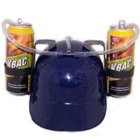 Каска с подставками под банки, цвет: синий89628Синяя пластиковая каска с двумя держателями для банок или небольших бутылок и трубкой, через которую можно пить, поможет Вам утолить жажду во время движения, не останавливаясь и не занимая рук.Трубка имеет зажим, благодаря которому можно регулировать напор жидкости, и две соединительные трубочки, с помощью которых можно смешивать два различных напитка в виде коктейля. Каска имеет амортизатор, регулирующий глубину посадки каски. Характеристики: Высота каски: 12 см. Цвет: синий. Диаметр подставки: 7 см. Длина трубки (за пределами каски): 45 см. Материал:пластик. Артикул: 89628. Уважаемые клиенты!Представленные на изображении банки в комплект не входят.
