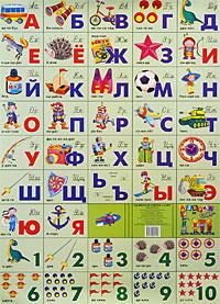 Разрезная азбука и счет для мальчиков. Плакат научно учебная литература