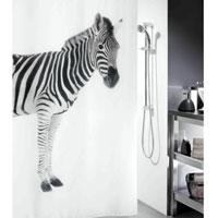 Штора Zebra Black, 180 х 200 см1011554Штора для ванной комнаты Zebra с изображением зебры изготовлена из текстиля с гидрофобной пропиткой. В верхней кромке шторы сделаны отверстия для колец. Штору можно стирать в стиральной машине. Нижний шов шторы отяжелен специальным шнуром.Шторы от компанииSpirella отличает яркий, красочный дизайн рисунков и высокое качество (гарантия на изделие 3 года). Сделайте вашу ванную комнату еще красивее! Характеристики: Материал: 100% полиэстер. Размер: 180 см х 200 см. Производитель: Швейцария. Изготовитель: Китай. Артикул: 1011554.
