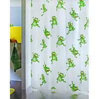 Штора Frogtime, 180 х 200 см1006487Штора для ванной комнаты Frogtime с изображением забавных лягушек изготовлена из полиэтиленвинилацетата. В верхней кромке шторы сделаны отверстия для колец. Штору можно стирать только руками. Шторы от компанииSpirella отличает яркий, красочный дизайн рисунков и высокое качество (гарантия на изделие 3 года). Сделайте вашу ванную комнату еще красивее! Характеристики: Материал: пластик. Размер шторы: 180 см х 200 см. Производитель: Швейцария. Артикул: 1006487.