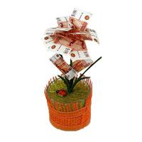 Денежный цветок Расцвет бизнеса рубли89967Настольная композиция выполнена в виде симпатичного денежного цветка. На пластиковое основание цветка насажены миниатюрные купюры-дубли достоинством в 5000 рублей.Цветок закреплен в стеклянном стакане-горшочке, оформленном текстильной сеткой. У основания цветка расположена забавная божья коровка. Характеристики: Высота:14 см. Материал:стекло, пластик, бумага. Производитель:Россия.Артикул:89967.