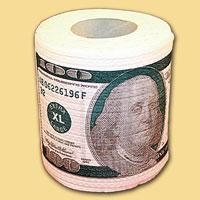 """Туалетная бумага """"100$""""  - оригинальный сувенир для людей, ценящих чувство юмора. Бумага оформлена иллюстрацией стодолларовой купюры . Рулон имеет стандартный размер и упакован в пленку.            Высота рулона: 10,5 см."""
