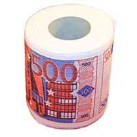 """Туалетная бумага """"500 евро""""  - оригинальный сувенир для людей, ценящих чувство юмора. Бумага оформлена иллюстрацией купюры 500 евро. Рулон имеет стандартный размер и упакован в пленку. Ширина рулона: 10,5 см."""
