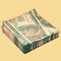 Качественные бумажные салфетки с увеличенным изображением купюр в 100 долларов - оригинальный сувенир для людей, ценящих чувство юмора. Характеристики:  Размер упаковки:  16,5 см x 16,5 см х 3 см. Размер салфетки:  33 см x 33 см. Материал:  бумага. Артикул: 01010.
