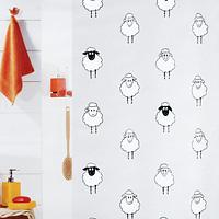 """Штора для ванной комнаты """"Lana black"""" с изображением забавных овец изготовлена из полиэтиленвинилацетата. В верхней кромке шторы сделаны отверстия для колец. Штору можно стирать только руками.   Шторы от компании  """"Spirella"""" отличает яркий, красочный дизайн рисунков и высокое качество (гарантия на изделие 3 года). Сделайте вашу ванную комнату еще красивее! Характеристики: Материал: пластик. Размер шторы: 180 см х 200 см. Производитель: Швейцария. Артикул: 1008193."""
