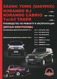 М. Е. Мирошниченко SsangYong (Daewoo) Korando KJ / Cabrio KJ / ТагАЗ Tager с 1996 г. Бензиновые двигатели 2.0, 2.3, 3.2 л. Дизельные двигатели 2.3, 2.9 л. Руководство по ремонту и эксплуатации. Цветные электросхемы тагаз vortax 1 5