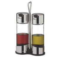 Набор Tescoma для масла и уксуса. 650352650352Набор Tescoma для масла и уксуса благодаря своим небольшим размерам не займет много места на Вашей кухне. Емкости компактно умещаются на подставке и надежно удерживаются на ней, благодаря углублениям. К подставке прикреплена стальная ручка. Емкости изготовлены из стекла, нержавеющей стали и прочной пластмассы. Очень удобно, когда во время приготовления пищи набор Tescoma находится под рукой. Характеристики:Материал: стекло, сталь, пластмасса. Высота емкости: 15 см. Диаметр емкости: 4,5 см. Размер подставки: 11,5 см х 5 см х 19,5 см. Производитель: Чехия. Артикул: 650352.Внимание!Уважаемые клиенты, обращаем ваше внимание на тот факт, что емкости поставляются без масла и уксуса.
