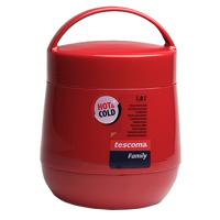 Термос для продуктов Tescoma Family, цвет: бордовый, 1 л. 310532310532Термос для продуктов Tescoma Family пригодится в любойситуации: будь то экстремальный поход, пикник или поездка. Корпус термоса выполнен из высококачественного цветногопластика. Колба термоса изготовлена из стекла, котороеявляется экологически чистым материалом и прекраснодержит температуру. Изделие, оснащенное эргономичнойручкой, предназначено для хранения и переноски теплых ихолодных блюд. В комплекте поставляется две пластиковыеемкости и универсальная крышка. Емкости вкладываются визоляционную колбу. Они предназначены для продуктов свысоким содержанием жиров, сахара либо кислот, а такжеблюд, которые тяжело отмываются со стенок стекляннойколбы. Нейтральные продукты можно хранитьнепосредственно в самой колбе. Термос Tescoma Family - это идеальный вариант длябольшой компании и дальней поездки.Не рекомендуется мыть в посудомоечной машине. Диаметр термоса (по верхнему краю): 13 см. Высота термоса (без учета крышки): 15 см. Диаметр малой чаши (по верхнему краю): 12 см. Высота малой чаши: 4,5 см. Диаметр большой чаши (по верхнему краю): 12,3 см. Высота большой чаши: 16,5 см. Диаметр крышки: 13 см.