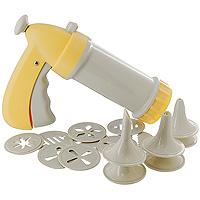Шприц кондитерский Tescoma, цвет: желтый. 630534631018Шприц кондитерский Tescoma, изготовленный из прочного пластика, предназначен для помещения и выдавливания разных кремов, в основном служащих для украшения пирожных и тортов, а также для приготовления сладких и соленых печений. В наборе к шприцу прилагается 6 декоративных насадок и 10 пресс-кругов, имеющих разное сечение и профиль.Кондитерский шприц - превосходный инструмент, который облегчает и ускоряет процесс выпечки печенья, бисквитов, пряников и т.д., идеален для украшения десертов и пирогов сливками или заварным кремом, для заполнения пончиков джемом, а также для украшения бутербродов, тостов и канапе паштетом, маслом, плавленым сыром.Праздничный стол требует особого внимания! Благодаря удивительному помощнику - кондитерскому шприцу - вы быстро и легко приготовите выпечку любой формы, какой только пожелаете. Характеристики: Материал:пластмасса. Цвет: желтый. Длина шприца: 21,5 см. Длина ручки: 14 см. Количество насадок: 6 шт. Количество пресс-кругов: 10 шт. Производитель: Чехия. Артикул: 630534.