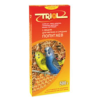 Корм Triol для мелких и средних попугаев, с медом, 500 г triol корм для мелких и средних попугаев с мёдом