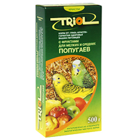 Корм для мелких и средних попугаев Triol, с фруктами, 500 г triol корм для мелких и средних попугаев с мёдом