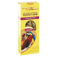 Лакомство для средних и крупных попугаев Triol, с медом, 3 шт корм для животных triol лакомство для мелких и средних попугаев с кунжутом уп 3 шт