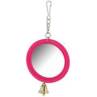 Игрушка для птиц Зеркало с колокольчиком, цвет: розовый4023_bИгрушка Зеркало с колокольчиком предназначена для птиц. Такая игрушка не даст скучать вашему питомцу. Она подвешивается на клетку за крючок.Характеристики: Материал: металл. Диаметр:6,5 см. Артикул: Кх-06100.