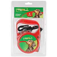 Поводок-рулетка Triol, для собак до 10 кг, цвет: красный, 5 м. Р-03000 поводок рулетка triol disney mickey для собак до 12 кг цвет черный красный 3 м