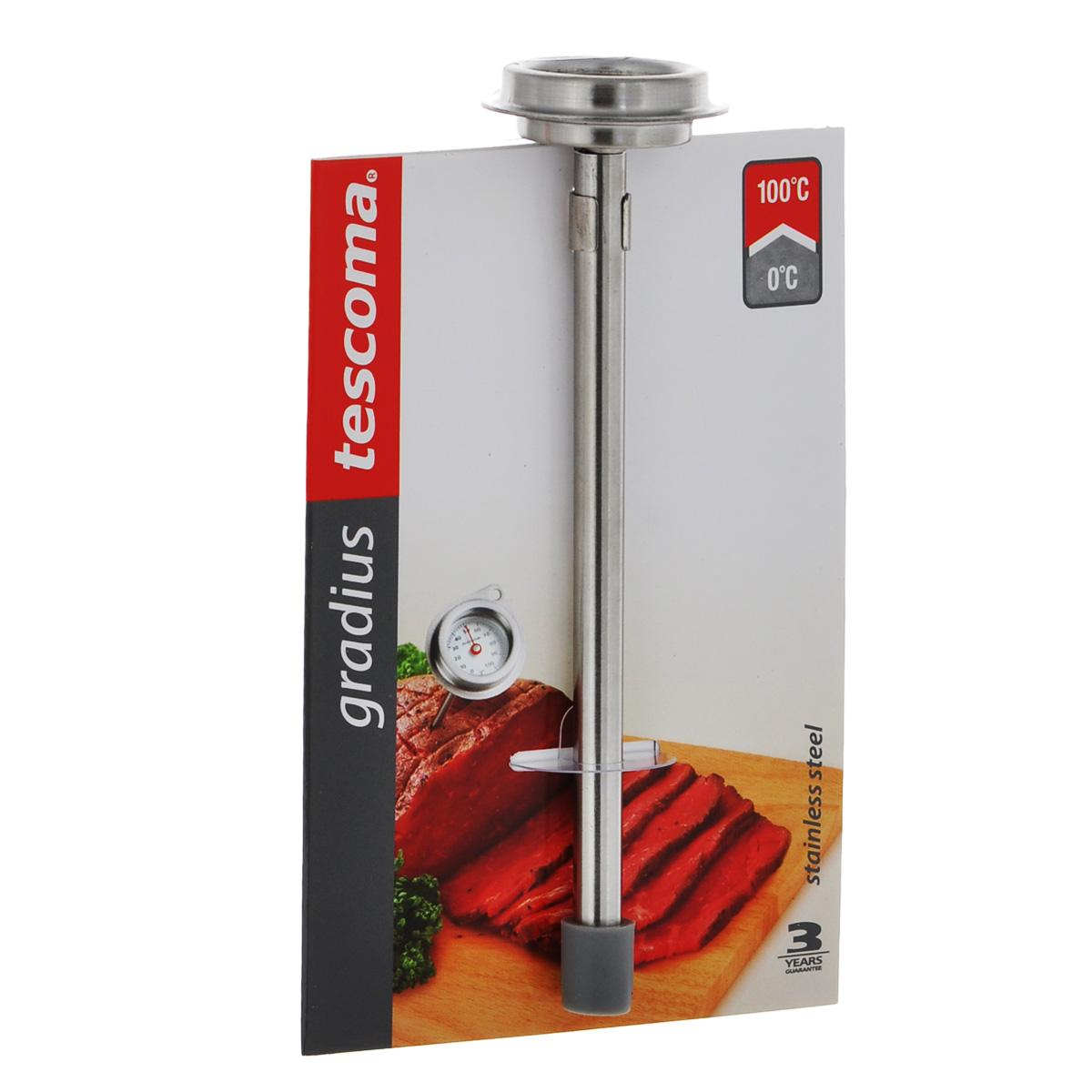 Термометр кулинарный Tescoma Gradius. 636152636152Кулинарный термометр Tescoma Gradius настоящий помощник для любой хозяйки. Корпус термометра изготовлен из первоклассной нержавеющей стали с акцентом на точность и функциональность. Он помогает точно соблюдать рецептуру, безопасно уничтожать все вредные для здоровья бактерии. Термометр измеряет внутреннюю температуру во время приготовления. Изделие снабжено защитным чехлом. Не мыть в посудомоечной машине.