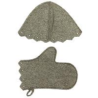 Комплект для бани и сауны, суровыйБ15-1Комплект для бани и сауны включает в себя шапку и рукавицу. Шапка защитит Вас от появления головокружения в бани, Ваши волосы от сухости и ломкости, а голову от перегрева. Рукавица убережет Ваши руки от горячего пара и поможет прекрасно промассировать тело. Характеристики: Материал: шерсть. Длина рукавицы: 29 см. Ширина рукавицы: 16 см. Диаметр основания шапки: 34 см. Высота шапки: 24 см. Производитель: Россия. Артикул: Б15-1.