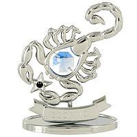 Сувенир Знаки зодиака: Скорпион, цвет: серебристый, 8,5 см новогодний сувенир сувенир crystocraft овечка gold blue u0347 001 gdbt