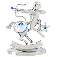 Сувенир Знаки зодиака: Стрелец, цвет: серебристый, 8,5 смU0265-001-CBLBДекоративное изделие, выполненное в виде знака зодиака Стрелец, с голубым кристаллом Swarovski посередине, а также двумя кристаллами синего и изумрудного цветов, изготовлено из высококачественной стали. Оригинальный сувенир будет отличным подарком для ваших друзей и коллег.Более 30 лет компания Crystocraft создает качественные, красивые и изящные сувениры, декорированные различными кристаллами Swarovski.Характеристики:Материал:сталь, кристаллы Swarovski. Высота:8,5 см. Размер упаковки:9,5 см х 11 см х 4,5 см. Артикул:U0265-001-CBLB. Производитель:Китай.