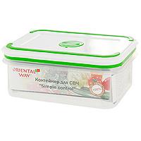 Контейнер для СВЧ/холодильника Oriental way Simple control 0,27 л GL-9021GL9021Контейнер с плотно прилегающей крышкой предназначен для хранения пищевых продуктов в морозильной камере до -20°С, для приготовления блюд в микроволновой печи до +120°С, в длительных поездках, для хранения школьных завтраков. Контейнер снабжен инновационной крышкой, которая обеспечивает абсолютную герметичность, водонепроницаемость и не пропускает запахи. Благодаря такой крышке продукты долго сохраняют свою свежесть. На крышке имеется специальный клапан для выпуска пара и атискользящие вставки для устойчивого вертикального хранения. Прозрачные стенки контейнера позволяют видеть содержимое. Контейнер легко моется в посудомоечной машине. Характеристики:Материал: полипропилен. Размер: 12,5 см х 9 см х 5 см. Объем: 0,27 л. Производитель: Китай. Артикул: GL-9021. Торговая марка Oriental way известна на рынке с 1996 года. Эта марка объединяет товары для кухни, изготовленные из дерева и других материалов. Все товары марки Oriental way являются безопасными для здоровья, экологичными, прочными и долговечными в использовании.