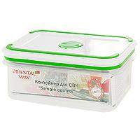 Контейнер прямоугольный Oriental way Simple control, 0,6 лGL9017Контейнер с плотно прилегающей крышкой предназначен для хранения пищевых продуктов в морозильной камере до -20°С, для приготовления блюд в микроволновой печи до +120°С, в длительных поездках, для хранения школьных завтраков. Контейнер снабжен инновационной крышкой, которая обеспечивает абсолютную герметичность, водонепроницаемость и не пропускает запахи. Благодаря такой крышке продукты долго сохраняют свою свежесть. На крышке имеется специальный клапан для выпуска пара и атискользящие вставки для устойчивого вертикального хранения. Прозрачные стенки контейнера позволяют видеть содержимое. Контейнер легко моется в посудомоечной машине. Характеристики:Материал: полипропилен. Размер: 15,5 см х 11,5 см х 6,5 см. Объем: 0,6 л. Производитель: Китай. Артикул: GL-9017. Торговая марка Oriental way известна на рынке с 1996 года. Эта марка объединяет товары для кухни, изготовленные из дерева и других материалов. Все товары марки Oriental way являются безопасными для здоровья, экологичными, прочными и долговечными в использовании.
