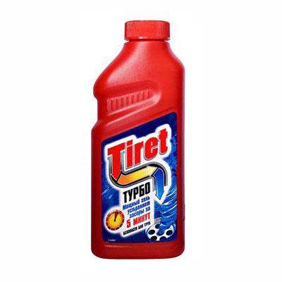 """Чистящее средство """"Tiret Turbo"""" предназначено для очистки канализационных труб. Гель устраняет засоры в трубах за 5 минут, а также дезинфицирует.  Безопасен для всех металлических и пластиковых труб. Характеристики: Объем: 1 л. Изготовитель: Россия. Товар сертифицирован.    Как выбрать качественную бытовую химию, безопасную для природы и людей. Статья OZON Гид"""