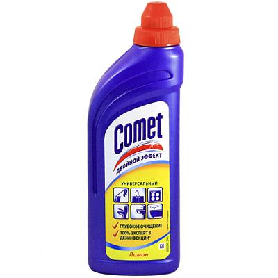 """Чистящий гель """"Comet"""" предназначен для глубокого очищения поверхностей. Эффективно удаляет повседневные загрязнения и обычный жир во всем доме, а также дезинфицирует поверхности благодаря формуле с хлоринолом. Характеристики: Объем: 500 мл.    Как выбрать качественную бытовую химию, безопасную для природы и людей. Статья OZON Гид"""