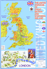The United Kingdom of Great Britain and Northern Ireland. Карта