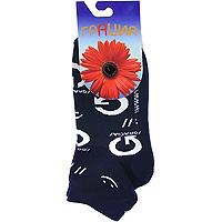 Носки женские Грация, цвет: синий. М1068. Размер 35/37М1068Позитивные носочки со смайликами и логотипом любимой марки. Высококачественный хлопок.