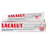 Lacalut Зубная паста White, 75 мл1598006500Зубная паста Lacalut White тщательно и бережно удаляет бактериальный налет, являющийся основной причиной окрашивания, и деликатно полирует эмаль зубов. Предназначена для ежедневного применения и особенно рекомендуется для курильщиков, любителей чая и кофе. Lacalut White не содержит химических отбеливающих и агрессивных абразивных компонентов. Специальная рецептура укрепляет и реминерализует твердые ткани зубов, предупреждает образования зубного камня и развитие кариеса. Характеристики: Объем: 75 мл. Производитель: Германия. Товар сертифицирован. Свою историю стоматологическая торговая марка Lacalut ведет с начала 20-х годов XX века. Высочайшее качество и эффективность обеспечили ей признание у специалистов и популярность у потребителей более 50 стран мира, и по праву считается лидером среди лечебно-профилактических средств гигиены полости рта.Сегодня Торговая марка Lacalut включает в себя целую гамму средств - зубные пасты, ополаскиватели, зубные щетки, зубные нити (флоссы), а также средства для зубных протезов. Таким образом, с помощью торговой марки Lacalut возможно комплексное решение любой проблемы в полости рта как у взрослых, так и у детей. Название Lacalut происходит от главного активного вещества – лактат алюминия.Лактат алюминия – это соль молочной кислоты, которая обладает ярко выраженным вяжущим и противовоспалительным действиями. Благодаря своему уникальному действию, Lacalut рекомендуется в первую очередь людям, страдающим воспалительными заболеваниями пародонта и полости рта, кровоточивостью десен, а также для защиты от кариеса и гиперчувствительности зубной эмали, в том числе на фоне воспаления тканей пародонта. Lacalut - самый компетентный уход за зубами!